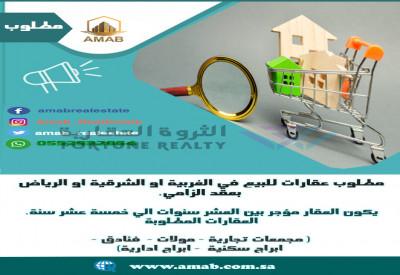 مطلوب عقارات للبيع في الغربية او الشرقية او الرياض بعقد الزامي.